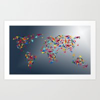 map of the world Art Prints featuring WORLD MAP  by mark ashkenazi
