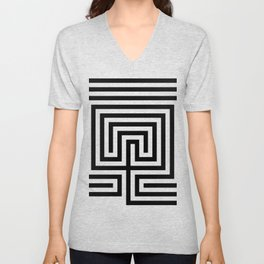 Cretan labyrinth in black and white Unisex V-Neck
