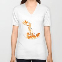 physics V-neck T-shirts featuring Liquid Physics Corgis by Anya McNaughton