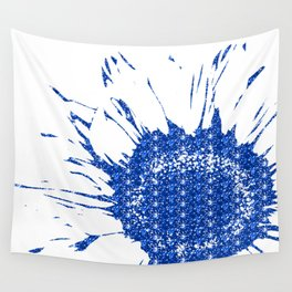 Sparkley Blue Flower Wall Tapestry