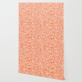 Tiny Spots - White and Dark Orange Wallpaper