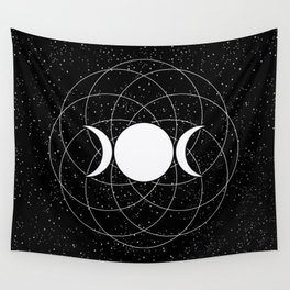 Triple Goddess Moon in Black and White Wall Tapestry