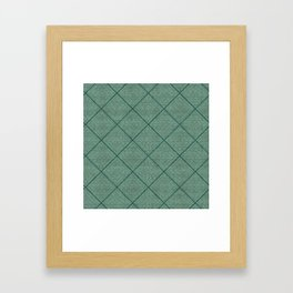 Stitched Diamond Geo Grid in Green Framed Art Print