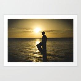 Beam Silhouette Sunset  Art Print