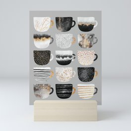 Pretty Coffe Cups 3 - Grey Mini Art Print