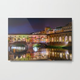 Night Reflections of Ponte Vecchio Metal Print