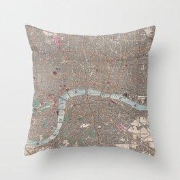 Vintage Map of London England (1862) Throw Pillow
