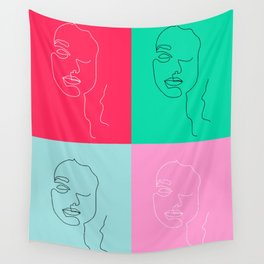 Minas: collage one line art Wall Tapestry