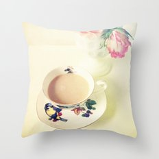 Roses and Chai Tea Throw Pillow