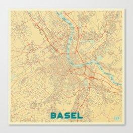 Basel Map Retro Canvas Print