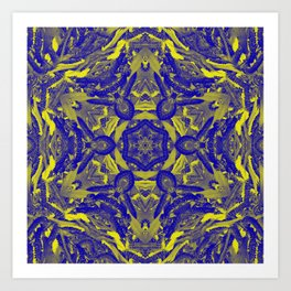 Abstract kaleidoscope of wattle blooms on textured background Art Print