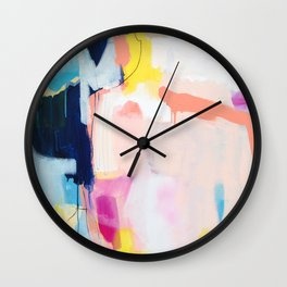 Passions II - abstract art in navy, blush, teal, white, and yellow Wall Clock