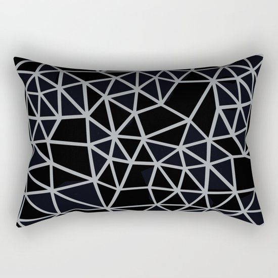 Segment Grey and Black Rectangular Pillow