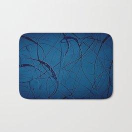 Navy Blue - Jackson Pollock Style - Modern Bath Mat