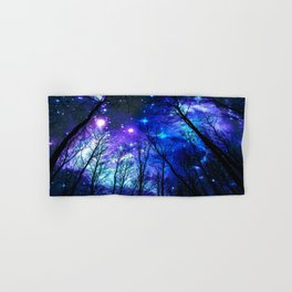 black trees purple blue space copyright protected Hand & Bath Towel