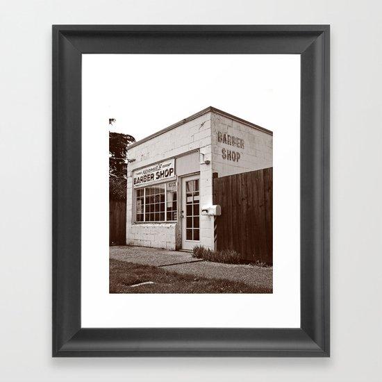Neighborhood barber shop Framed Art Print