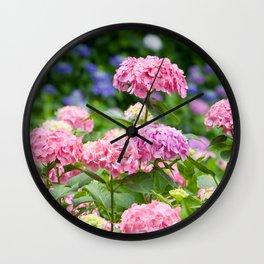 Pink & Lavender Flower Clusters Wall Clock