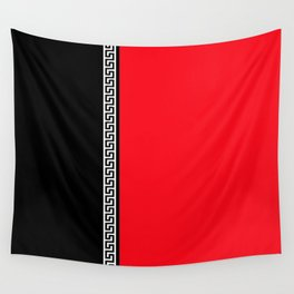 Greek Key 2 - Red and Black Wall Tapestry