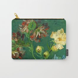 """Vincent Van Gogh """"Small Bottle with Peonies and Blue Delphiniums"""" Carry-All Pouch"""