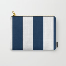 Wide Vertical Stripes - White and Oxford Blue Carry-All Pouch