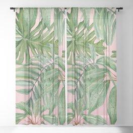 Tropical art,Palmtree,monstera pattern,pink background  Sheer Curtain