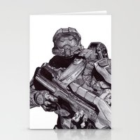 master chief Stationery Cards featuring Master Chief Pen Drawing by DeMoose_Art