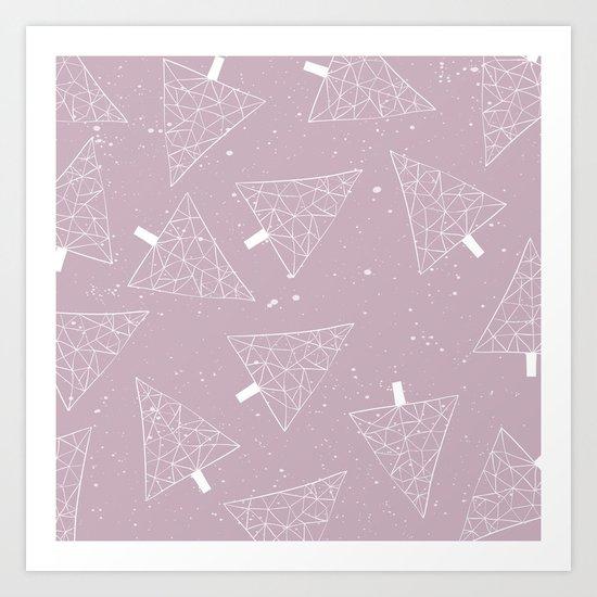 Christmas Trees Pink Art Print