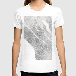 Marble - Silver Glitter on White Metallic Marble Pattern T-shirt