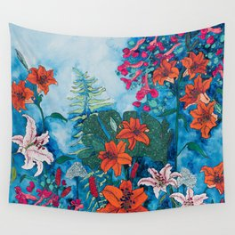 Blue Jungle of Orange Lily and Pink Trumpet Vine Floral Wall Tapestry