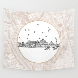 Roma (Rome), Italy, Europe City Skyline Illustration Drawing Wall Tapestry