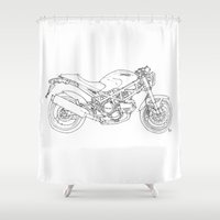 ducati Shower Curtains featuring Ducati Monster 695d 2007 by Larsson Stevensem