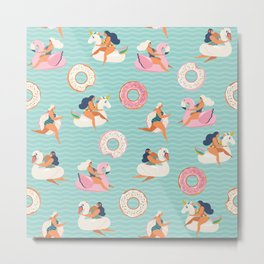 Flamingo, unicorn, swan and sweet donut inflatable swimming pool floats Metal Print