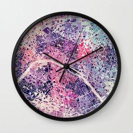 Paris Mosaic map #1 Wall Clock