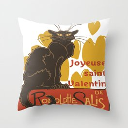 Joyeuse saint Valentin Le Chat Noir Parody Throw Pillow