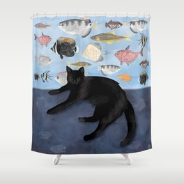 Ivy the Black Cat & The Fish Tank Shower Curtain