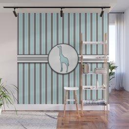 Blue Giraffe Stripes Pattern Design Wall Mural