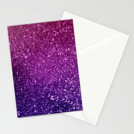 Pretty Pink & Purple Faux Glitter Gradient Stationery Cards