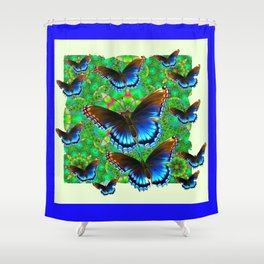 BLUE-BROWN BUTTERFLY GREEN ART Shower Curtain