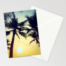 Vintage Palm trees with patio lanterns Stationery Cards