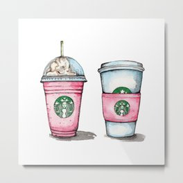 Pink Starbucks Cups Art Metal Print