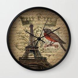 I love Paris Shabby chic Robin French Scripts Jubilee Crown Vintage Paris Eiffel Tower Wall Clock