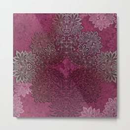 lace weave in red wine Metal Print