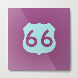 Route 66 • Travel and Road Trip Design • Purple and Light Blue Metal Print