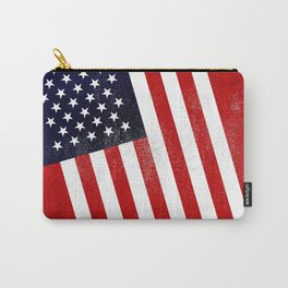 American Distressed Halftone Denim Flag Carry-All Pouch