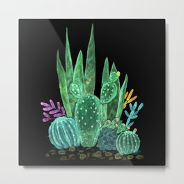 Cacti and succulents on a black background. Metal Print