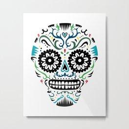 Sugar Skull SF multi -  on white Metal Print