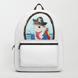 Captain and his parrot | watercolor portrait Backpack