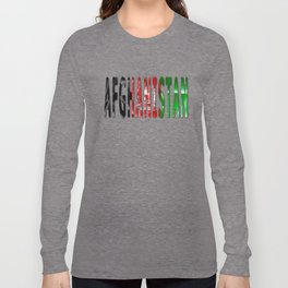 Afghanistan Word With Flag Texture Long Sleeve T-shirt