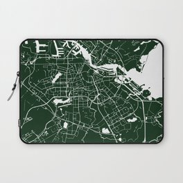 Amsterdam Green on White Street Map Laptop Sleeve
