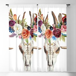 Colorful flowers & feathers dreamcatcher bull skull Blackout Curtain